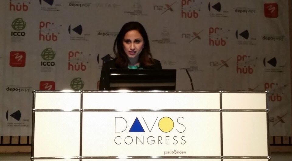 Rasha Goel speaking in Davos, Switzerland